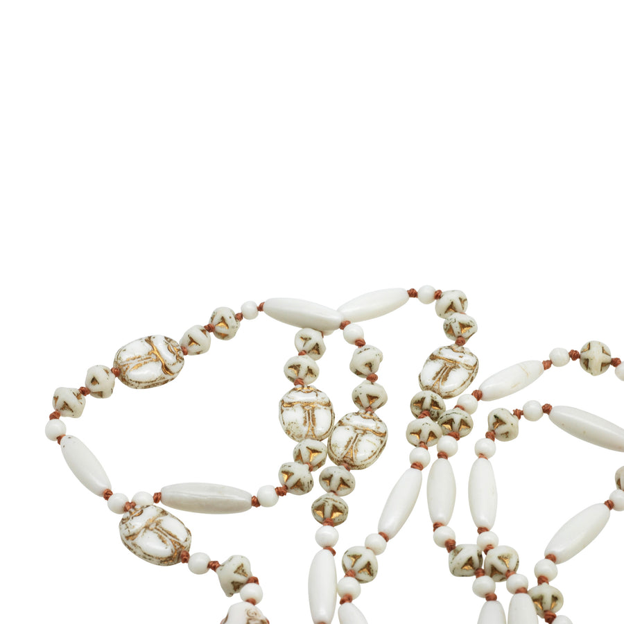 Deco Neiger Bros White Egyptian Revival Flapper Necklace - Beads
