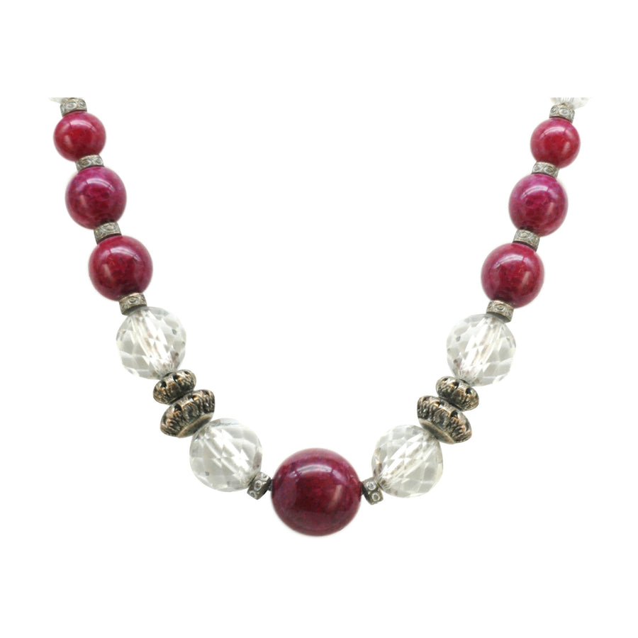 Louis Rousselet Art Deco French burgundy Art Glass and Yellow Metal Necklace