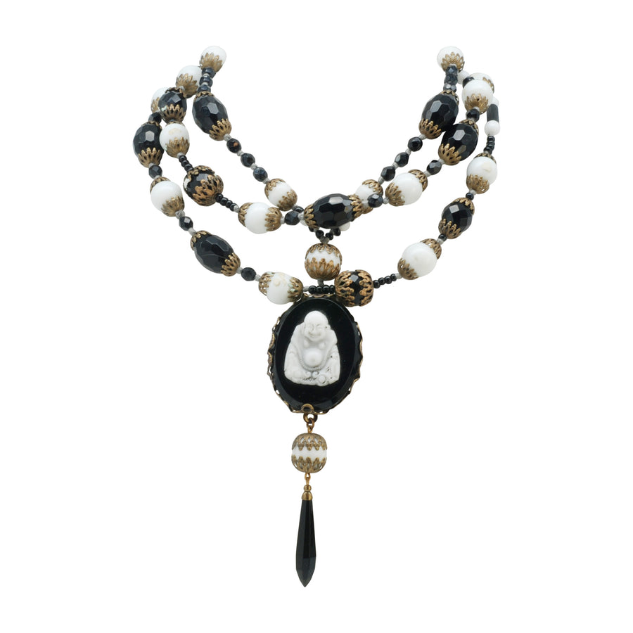 Flapper Length Deco Black And White Art Glass Necklace With A Carved Art Glass Buddha Pendant - Full