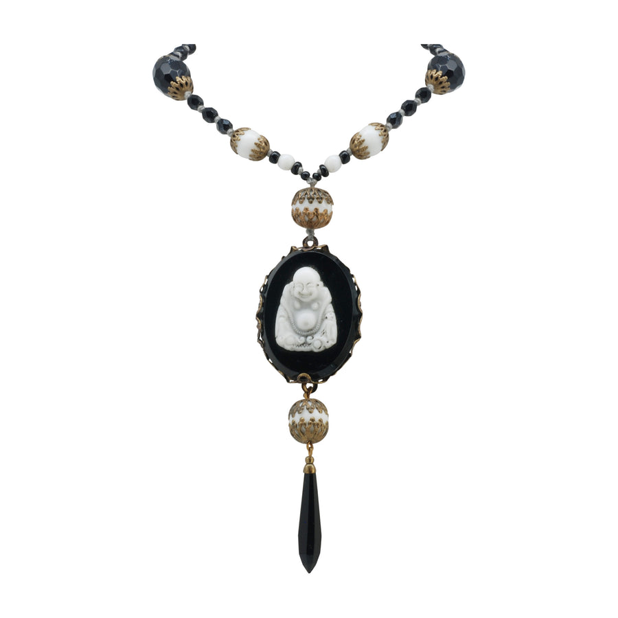 Flapper Length Deco Black And White Art Glass Necklace With A Carved Art Glass Buddha Pendant - Bust