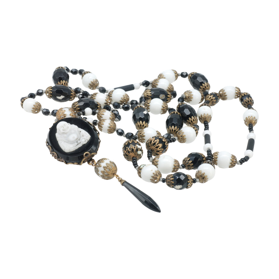 Flapper Length Deco Black And White Art Glass Necklace With A Carved Art Glass Buddha Pendant - Beads
