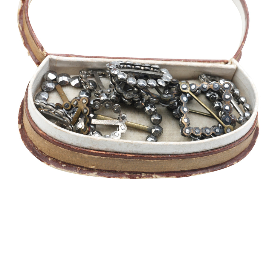 Box of Georgian Cut Steel Dolls Shoe Buckles - In Box