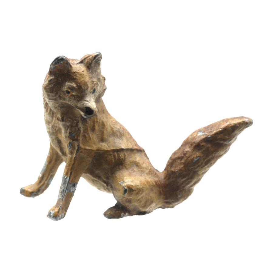 Antique Hand Painted Spelter Fox Figure - Front