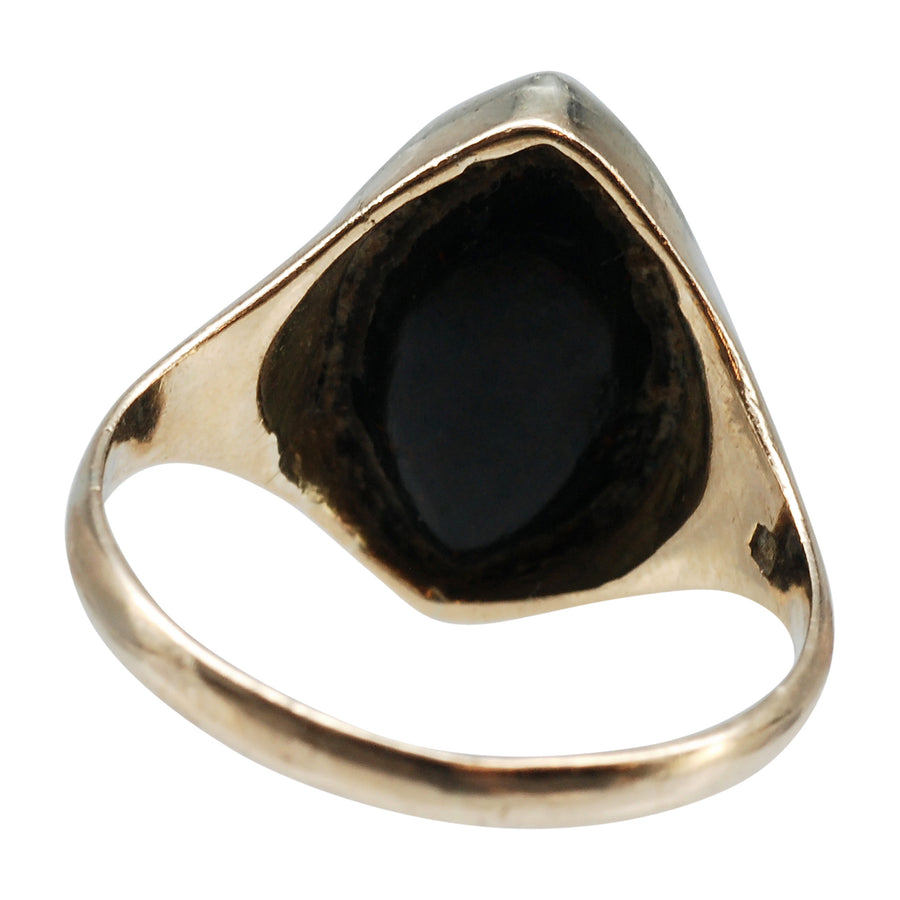 Vintage Marquise shaped Bloodstone and 9ct Yellow Gold Ring