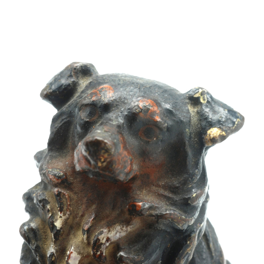 Antique Austrian Hand Painted Collie Dog Figure - Head