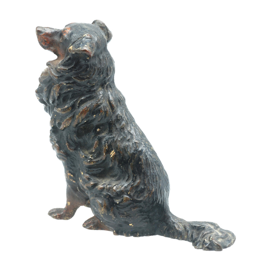 Antique Austrian Hand Painted Collie Dog Figure - Right Side