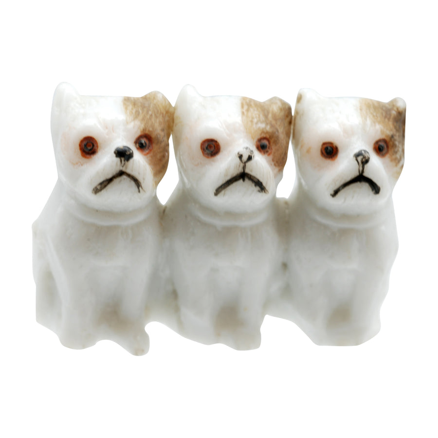 Antique Bisque Triple Dog Figure.
