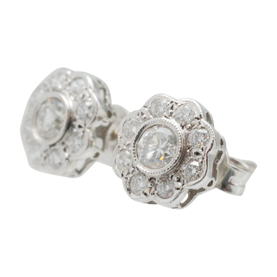 18ct White Gold Bespoke Diamond Cluster Earrings - Side