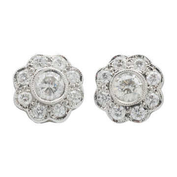 18ct White Gold Bespoke Diamond Cluster Earrings - Front