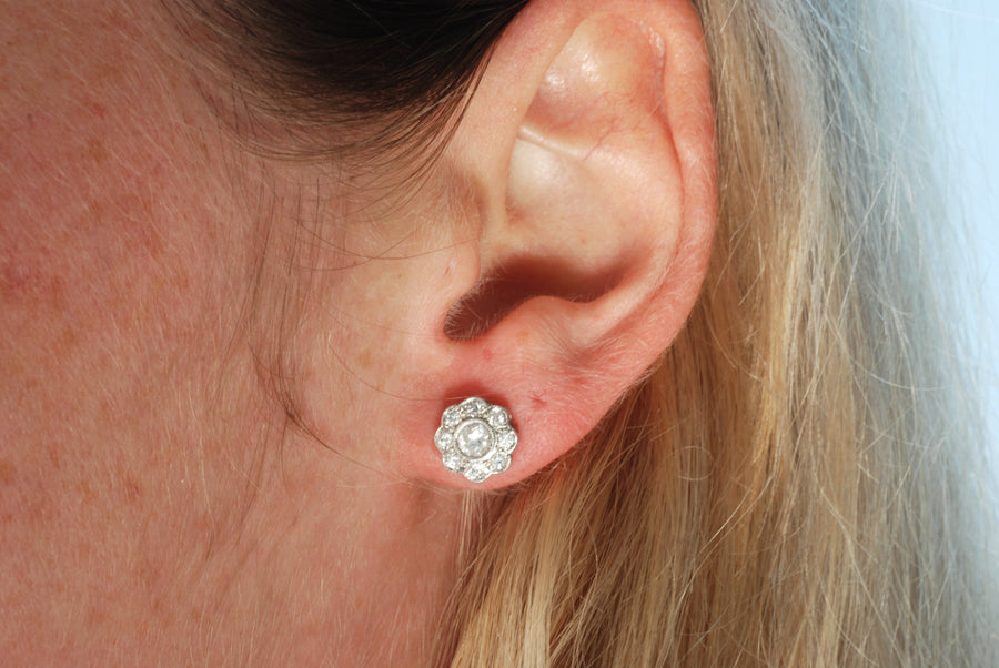 18ct White Gold Bespoke Diamond Cluster Earrings - On Model