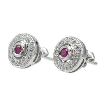 Diamond stud earrings 9ct white gold and ruby halo setting