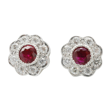 18ct White Gold Ruby and diamond cluster stud earrings.