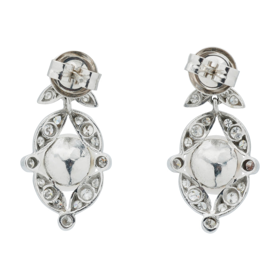 18ct Art Deco Style Diamond and Pearl drop earrings