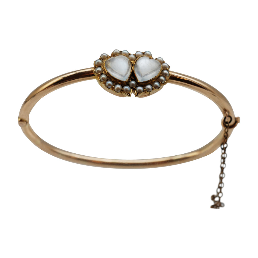 Victorian 15ct Rose Gold Moonstone & Seed Pearl Bracelet