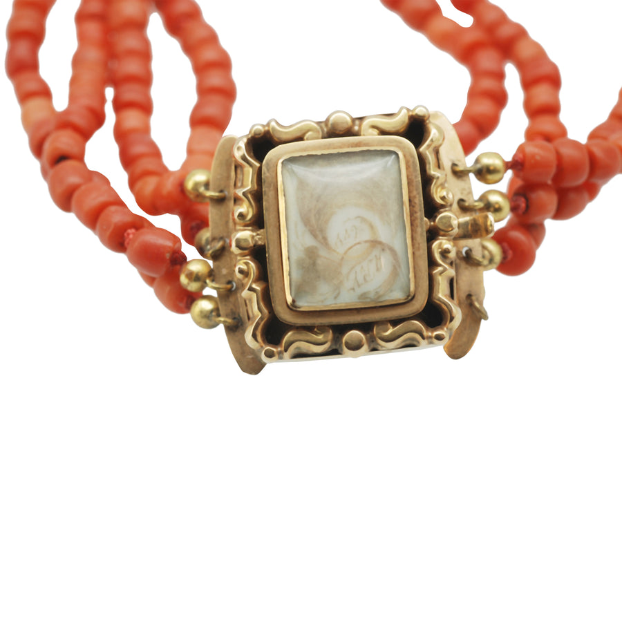 Georgian Coral Bracelet with Crystal Locket Top With Hair