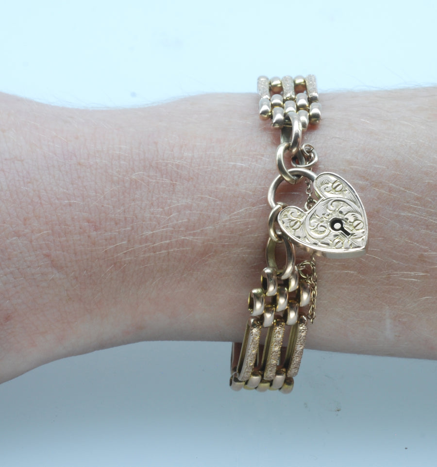 "Victorian 9ct Rose Gold ""Day Night"" Gate Link Bracelet"