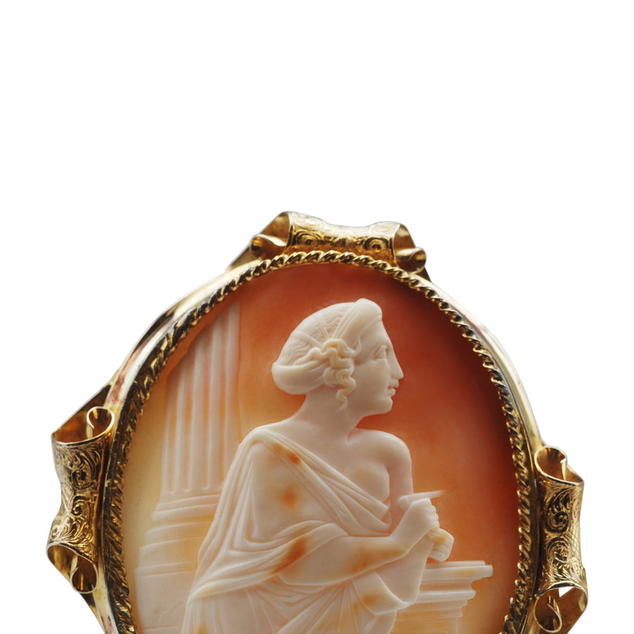 Mid Victorian Large Pinchbeck and Carved Shell cameo brooch.