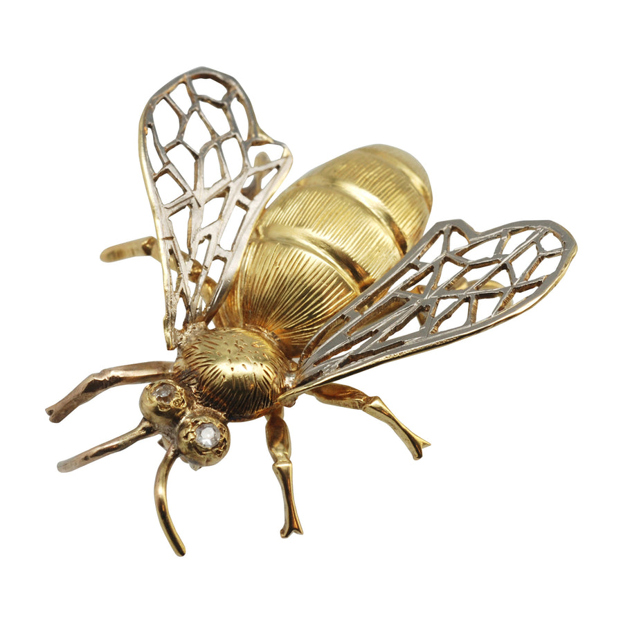 French Antique 18ct Gold and Diamond Bee Brooch