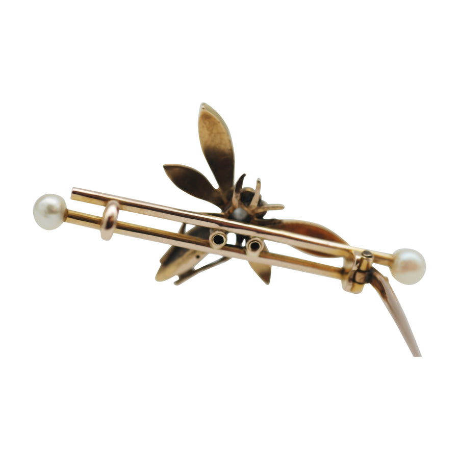 Victorian 9ct Gold Dragonfly Pearl and Diamond brooch.