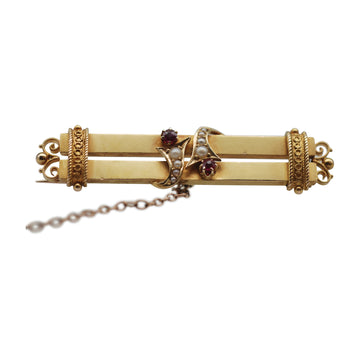 Victorian 15ct Pearl and Ruby double bar brooch