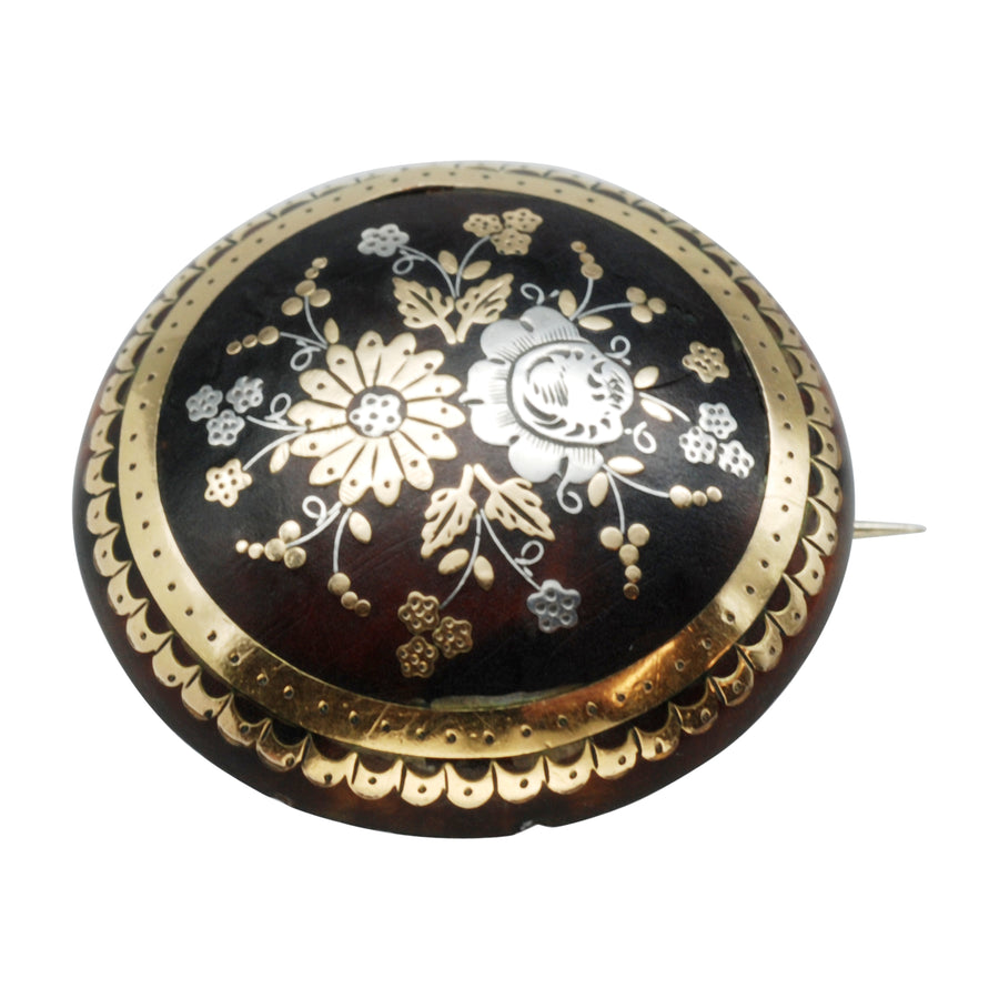 Victorian Pique brooch with circular inlaid flowers