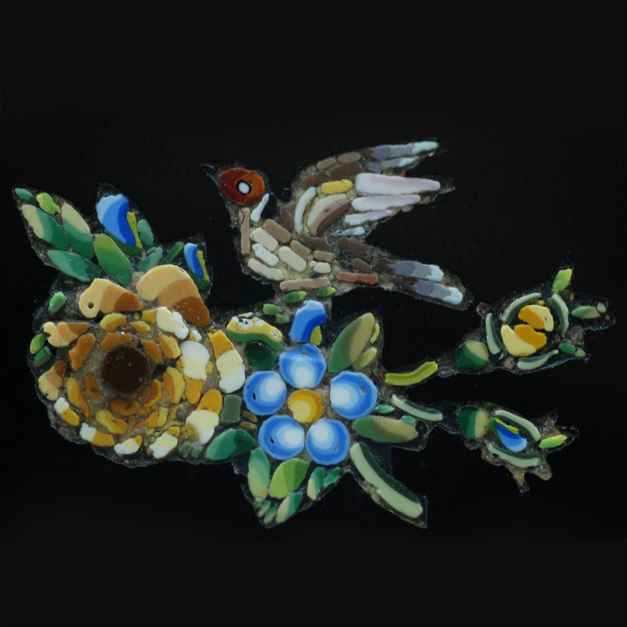 Victorian 15ct Gold and Micro Mosaic brooch composed of a bird and flowers