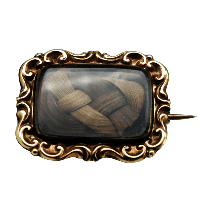Georgian / Early Victorian mourning brooch 1835 crystal