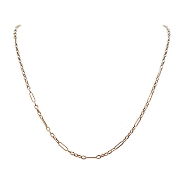 9ct Edwardian Rose Gold Fancy Link Chain with Belcher and Loop Links.
