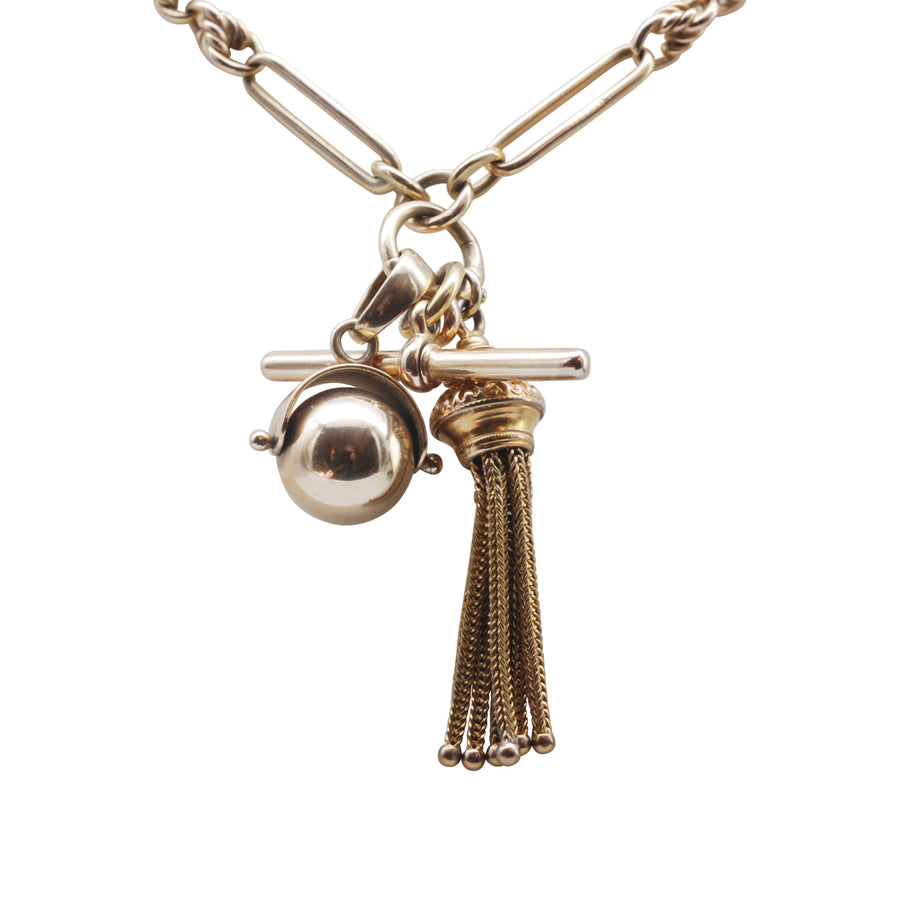 Victorian 15ct Paperclip And Triple Twist Fancy Albert With Ball And Tassel Charm And T Bar - bust