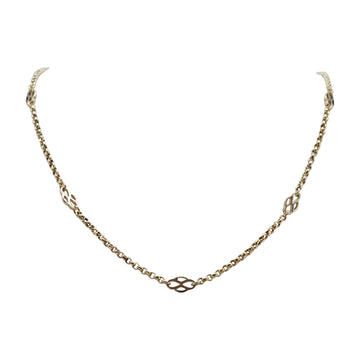 9ct Yellow Gold Necklet, Belcher With Fancy Inserts C1900 - front