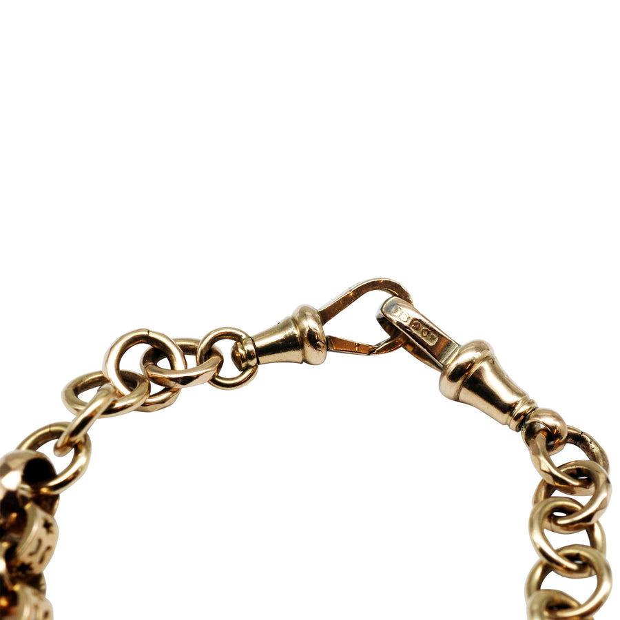 Victorian 9ct Fancy link double Albert chain