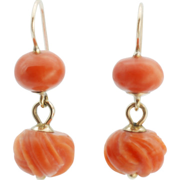 Victorian Coral Double Drop Earrings