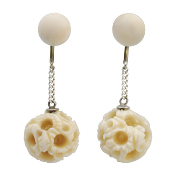 Victorian Carved Bone Puzzle Earrings