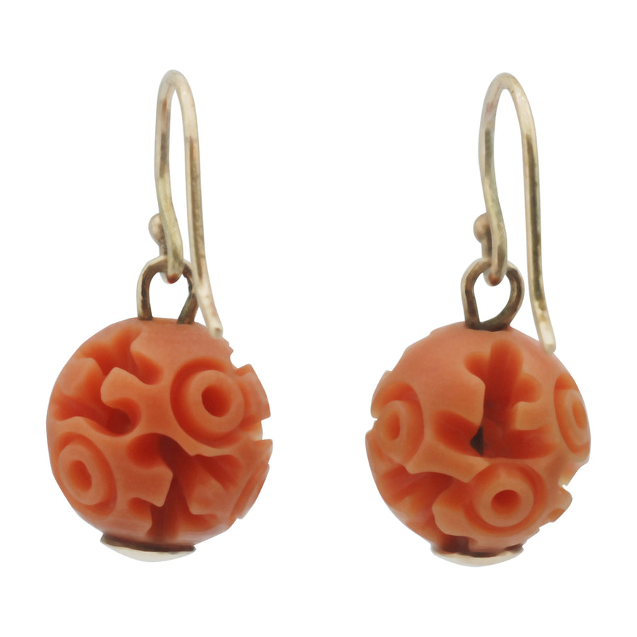 Art Deco Carved Resin Faux Coral Earrings - Back