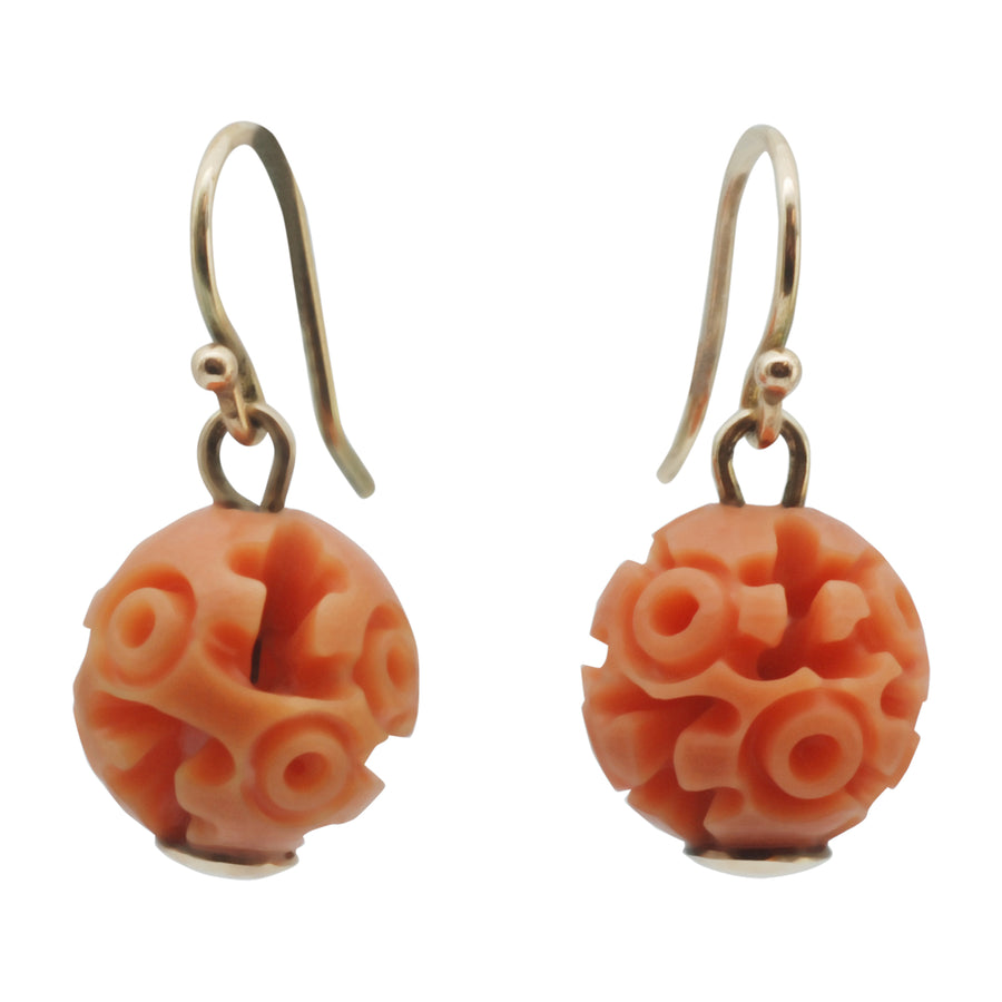 Art Deco Carved Resin Faux Coral Earrings - Front