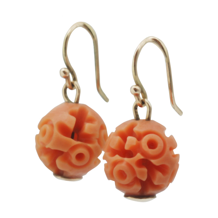 Art Deco Carved Resin Faux Coral Earrings - Side