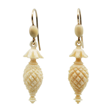 Mid Victorian Carved Bone Earrings