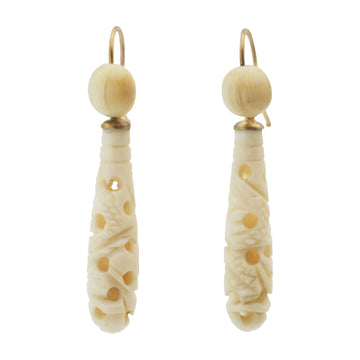 Victorian Carved bone drop earrings