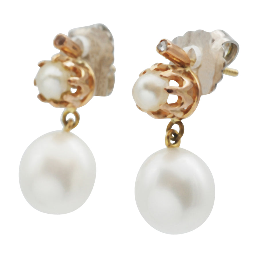 Vintage Cultured Pearl and Diamond Earrings