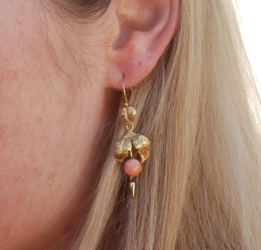 Victorian 15ct Gold and coral earrings