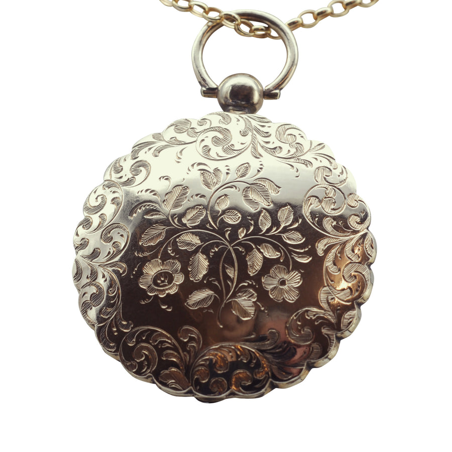 Victorian 9ct Back and Front round engraved locket