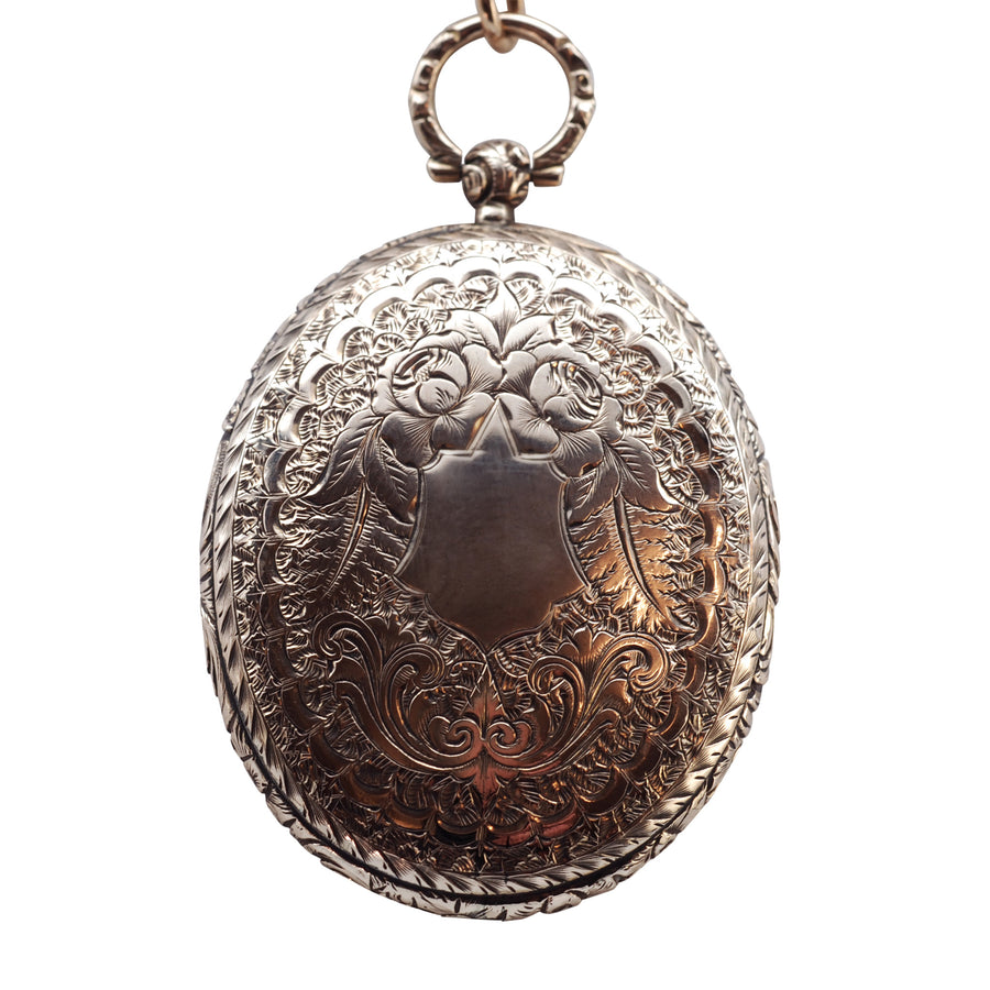 Early Victorian 9ct Gold and Glass Front Oval Locket C1840