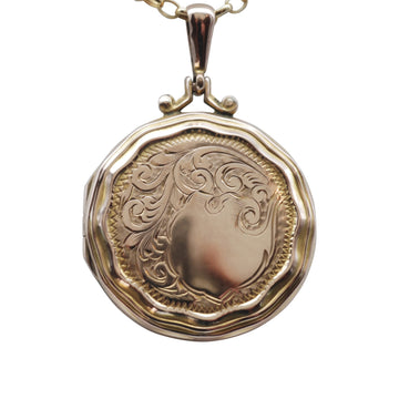 1920's 9ct Back and Front round engraved locket