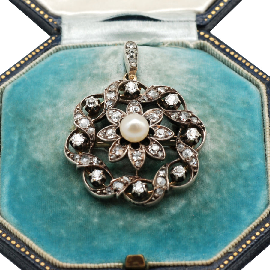 Victorian Platinum and 14ct rose gold and pearl pendant /brooch in original box