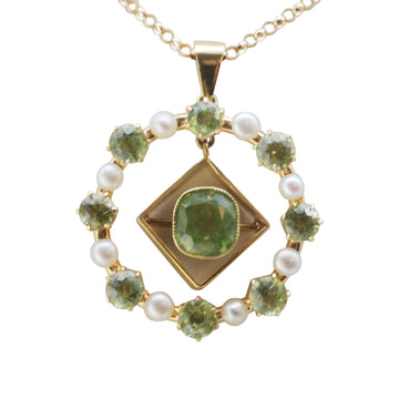 Edwardian 15ct Gold and Peridot and pearl pendant