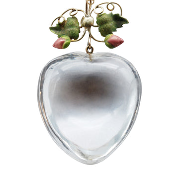 Victorian puffy heart crystal pendant
