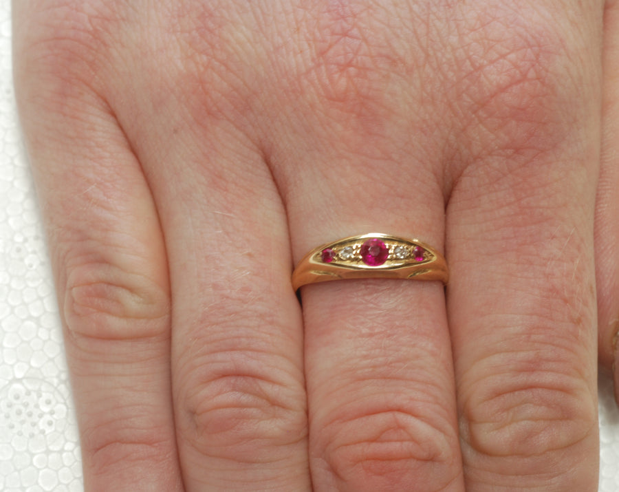 Victorian 18ct Diamond and Ruby 5 Stone Ring, Hallmarked Birmingham 1894