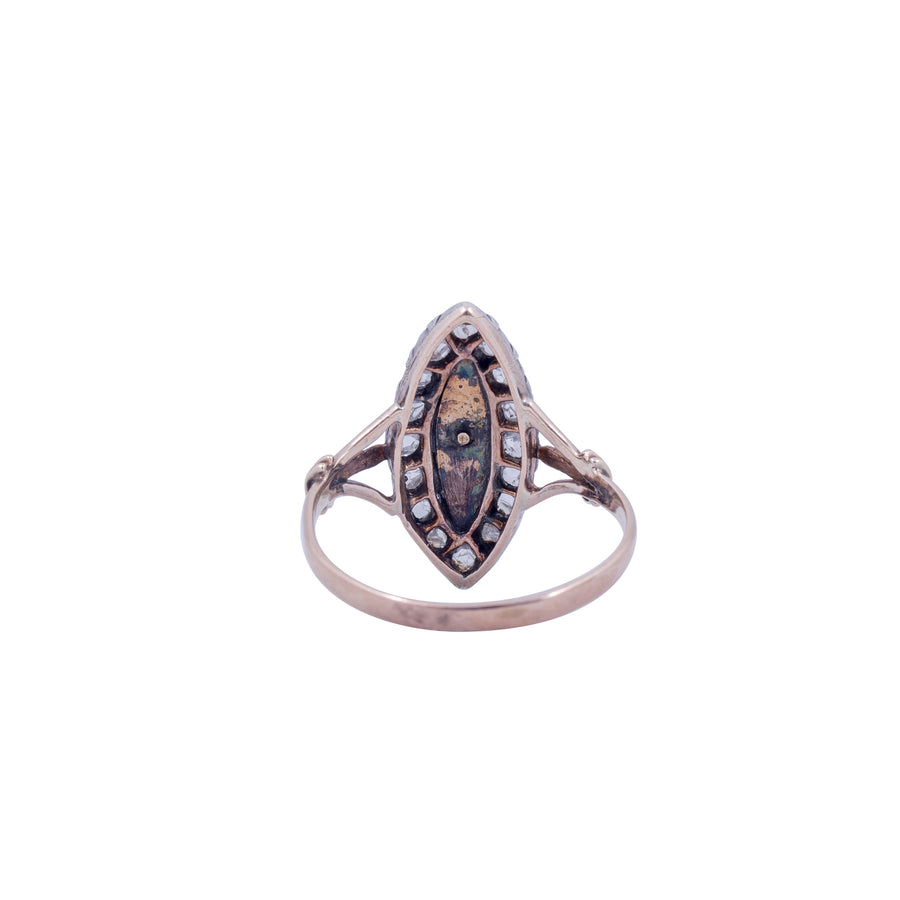 Early Victorian 15ct Enamel and Rose Cut Diamond Navette Ring