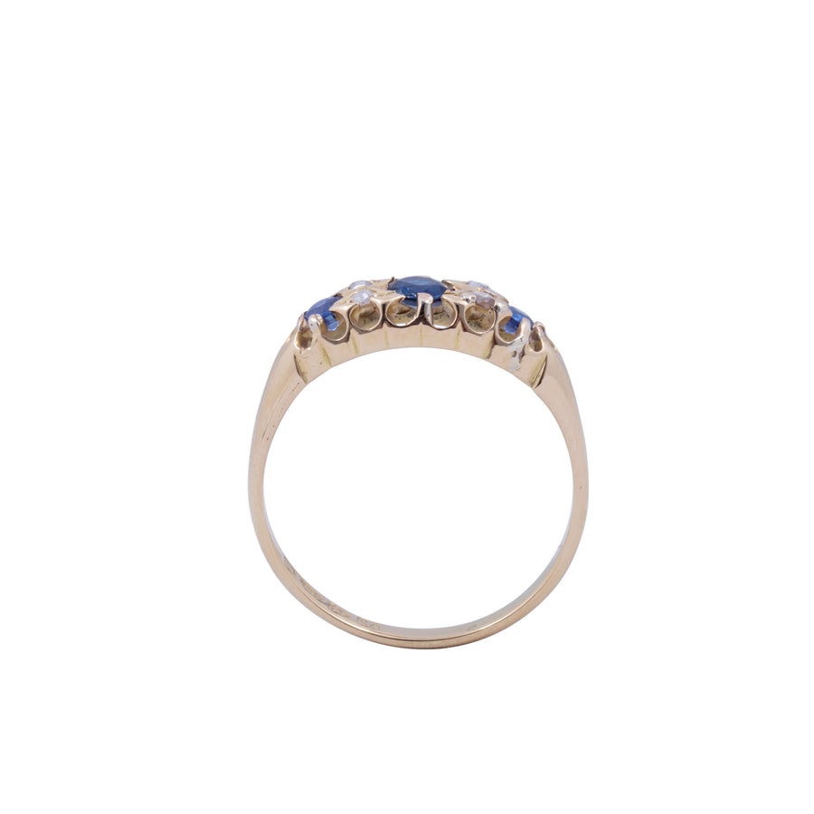 Edwardian 18ct Sapphire and Diamond Ring.