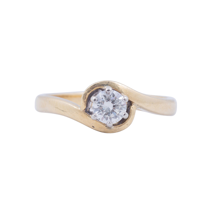 1930's 18ct Yellow Gold Solitaire Diamond Crossover Ring